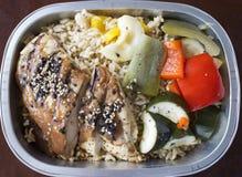 Teriyaki del pollo con riso e lo zucchini Fotografie Stock