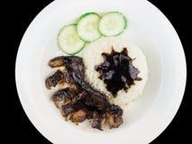 Teriyaki grillé de poulet avec du riz et des légumes d'un plat blanc sur le fond noir avec le chemin de coupure Image libre de droits
