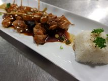Teriyaki-Hühneraufsteckspindeln mit gekochtem weißem Reis Lizenzfreie Stockfotos