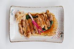 Teriyaki kurczak: Smażący Marynowany kurczak z Teriyaki kumberlandem Obraz Stock