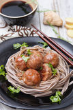 Teriyaki meat balls with soba Royalty Free Stock Image