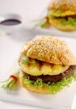 Teriyaki Pineapple burger on a sesame bun Stock Photos