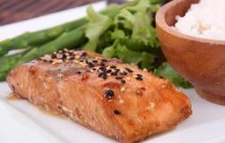 Teriyaki salmon. Teriyaki baked salmon on plate Stock Photography