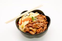 Teriyaki Schweinefleisch-Reis Stockfotos