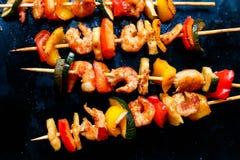 Teriyaki shrimp kebabs, close-up. Teriyaki shrimp kebabs on baking, close-up Stock Photo
