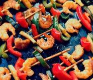 Teriyaki shrimp kebabs, close-up, toned. Effect Royalty Free Stock Photo