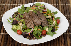 Steak Salad. On Fresh Greens Stock Images