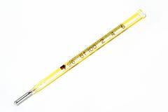 Termómetro amarillo Imagen de archivo