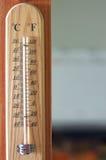 Termómetro de madera Fotografía de archivo libre de regalías