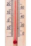 Termómetro de madera atmosférico Imágenes de archivo libres de regalías