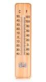 Termómetro de madera del sitio Imagen de archivo