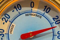 Termómetro del refrigerador Foto de archivo libre de regalías