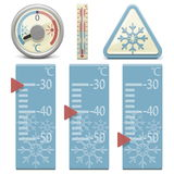 Termómetro del vector y muestra de la nieve Imagen de archivo libre de regalías