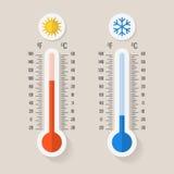 Termómetros de la meteorología de Celsius y de Fahrenheit que miden calor o frío, ejemplo del vector libre illustration