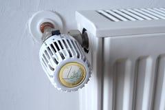Termóstato euro en el radiador Foto de archivo libre de regalías