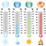 Termômetro e aquecimento global Imagem de Stock Royalty Free
