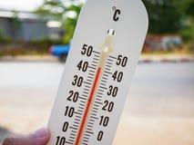 Termômetro que mostra a temperatura nos graus Célsio Fotos de Stock Royalty Free