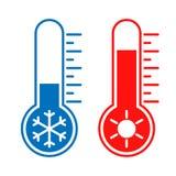 Termômetros com ícones gráficos das temperaturas do alto e baixo ilustração royalty free