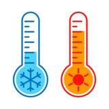 Termômetros com ícones gráficos das temperaturas do alto e baixo ilustração stock