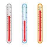Termômetros com media, frio, e temperatur quente Imagem de Stock