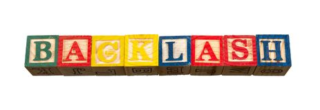 The term backlash visually displayed. On a white background using colorful wooden toy blocks image with copy space in landscape format Royalty Free Stock Photos