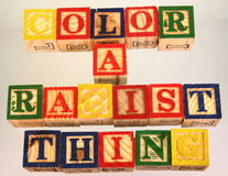 The term color is a racist thing presented visually Royalty Free Stock Images