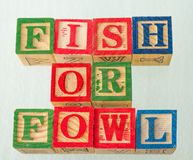 The term fish or fowl visually displayed