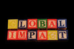 The term global impact visually displayed Stock Image