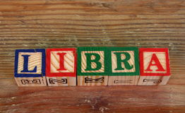 The term Libra. Visually displayed using colorful wooden blocks Royalty Free Stock Images