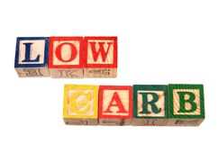 The term low carb visually displayed on a white background. The term low carb visually displayed using colorful wooden toy blocks on a white background image in Stock Photography