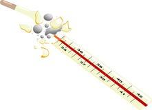 Termômetro quebrado com o mercúrio derramado para fora foto de stock royalty free