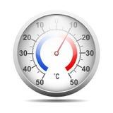 Termômetro redondo Célsio com sombra Fotografia de Stock Royalty Free