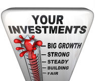 Termômetro - seus investimentos que fazem o dinheiro Fotografia de Stock