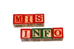 The term mis info visually displayed on a white background. Using colorful wooden toy blocks, image in landscape format with copy space Stock Photo
