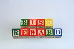 The term risk reward visually displayed. On a white background using colorful wooden toy blocks in landscape format with copy space Royalty Free Stock Image