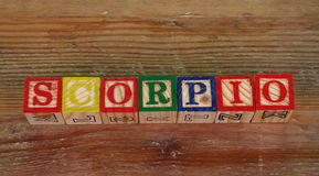 The term Scorpio. Visually displayed using colorful wooden blocks stock image
