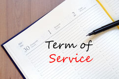 Term of service write on notebook Royalty Free Stock Photography