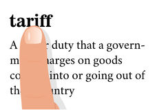 Term of tariff with a forefinger on it. Stock Photo