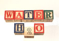 The term water h2o visually displayed on a white background. The term water h2o visually displayed using colorful wooden toy blocks on a white background image Royalty Free Stock Image