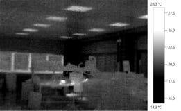 Termal-Bildfotogebäude-Farbskala Stockbilder