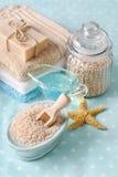 Termas azuis ajustados: sabão líquido, sais do mar e toalhas Fotografia de Stock Royalty Free