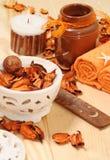 TERMAS com as pétalas secadas-acima laranja Imagens de Stock Royalty Free