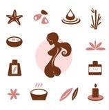 Termas e coleção do ícone do wellness - marrom Imagem de Stock
