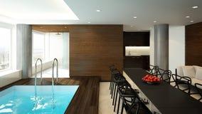 Termas e sala de estar modernos Foto de Stock Royalty Free