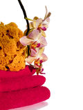 Termas: orquídea, toalhas e esponja Fotos de Stock
