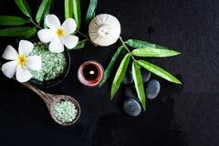 TERMAS tailandeses Ideia superior do ajuste branco da flor do Plumeria para o tratamento da massagem e para relaxar no quadro-neg fotografia de stock