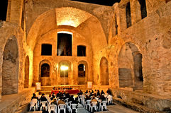 Terme Taurine night. Civitavecchia,Rome Italy Terme Taurine is a Roman archaeological site located in Civitavecchia, isolated, on a hill just a few kilometers royalty free stock images