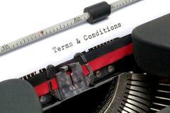 Termen en van Voorwaarden schrijfmachine stock afbeelding