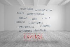 Termes de dépenses écrits dans la chambre lumineuse Photos stock