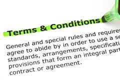 Termes et conditions accentués en vert photos stock